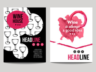 Vector set of modern posters with wine backgrounds. Trendy templates with wine glass pattern and wine stains for flyers, banners, invitations, restaurant or cafe menu design.