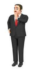 3D illustration character - A fat elderly businessman is troubled.