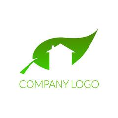 Obraz Logo dla firmy z branży ekologicznej, dom w liściu - fototapety do salonu