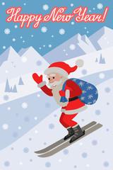 Skiing Santa illustraton on the slope mountain