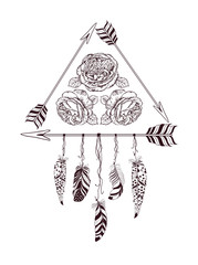 Hand drawn boho style design with rose flower, arrow and feathers.