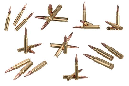 Bullet rifle metal ammo set. 3D graphic