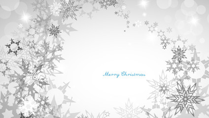 Christmas silver background with heart shaped snowflakes and dec
