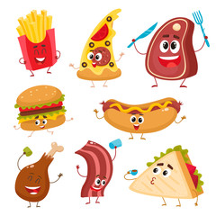 Set of funny fast food characters - pizza, French fries, burger, hot dog, steak, bacon, sandwich and chicken leg, cartoon vector illustration isolated on white background. Funny fast food characters