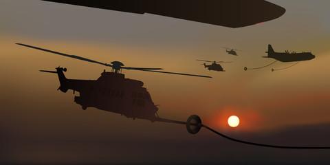 Hélicoptère - Ravitaillement - Nuit - Guerre