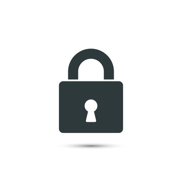 Lock icon vector. Padlock simple symbol isolated on white background.