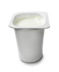 White yoghurt pot, isolated on white background.