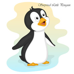 Funny and cute surprised little penguin. Merry Christmas and Happy New year card. Christmas card in cartoon style. Vector illustration