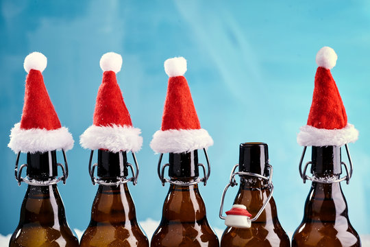 Winter beer bottle merry christmas party