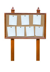 note paper on wooden board isolated on white background