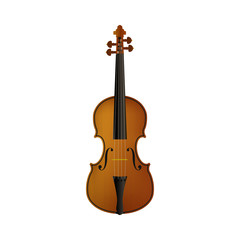 Realistic violin isolated white background.