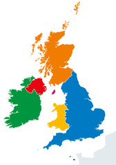 British Isles countries silhouettes map. Ireland and United Kingdom countries England, Scotland, Wales, Northern Ireland, Guernsey, Jersey and Isle of Man in different colors. Vector illustration.