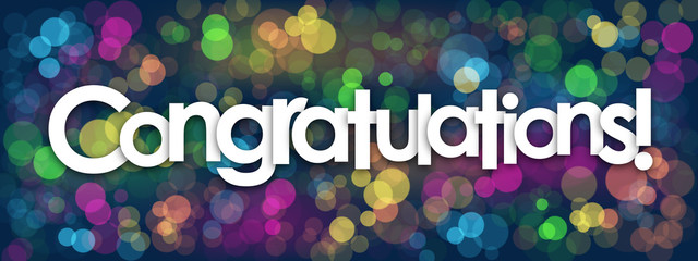 CONGRATULATIONS Card with colourful bokeh lights background