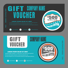 Blank of gift voucher vector illustration to increase sales on dark gray and turquoise background.