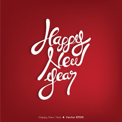 Happy New Year text on red background