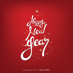 Happy New Year, text on red background