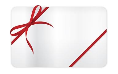 rote Schleife auf Geschenkkarte