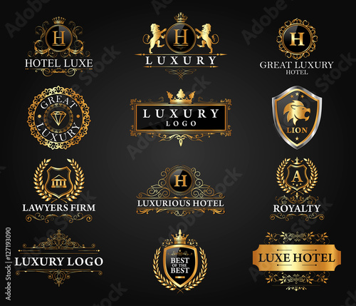 Great luxury set royal and elegant logo vector design for Luxury hotel logo