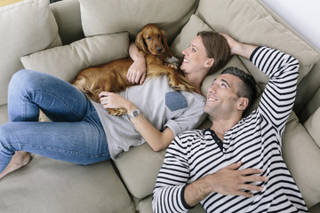 Smiling couple with dog lying on couch