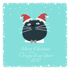 Dark cat in the white shirt, bow tie red-blue color and two hats of Santa on the ears.From the bottom of the postcard the phrase merry christmas and happy new year and numbers: two, zero, one ,seven.