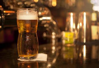 Light beer in glass
