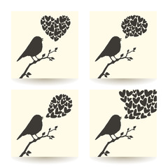 Set of illustrations with silhouette of bird and hearts