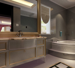 3d rendering of a Bathroom interior.