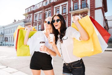 Two happy women holding shopping bags and having fun laughing