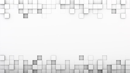 White extruded boxes and free space 3D render