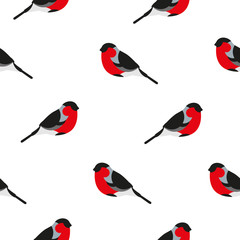 Seamless pattern with bullfinch. Ornament for textile and wrapping. Vector background.