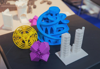 Variety of plastic products manufactured by 3D printing. Technol