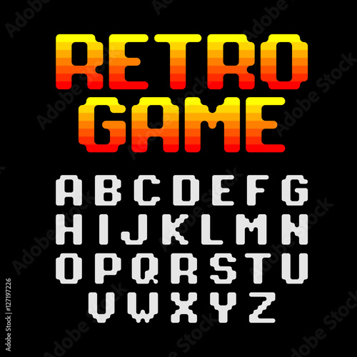 Retro style arcade games font, 80s video game alphabet