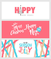 Set of Christmas and New Year social media banners. Hand drawn vector illustrations for website and mobile banners, internet marketing, greeting cards and printed material design.