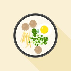 Chinese porridge rice, Hong kong Congee with parboiled egg and minced pork in bowl, asian cuisine, flat design vector