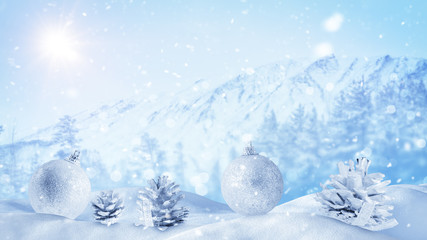 christmas decoration in winter landscape