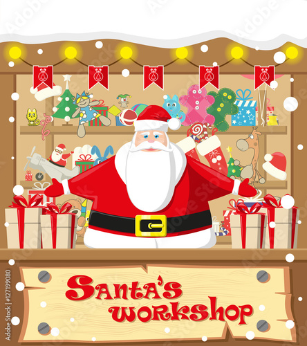 Merry Christmas Background Santa Workshop Cute Claus And Gifts Toys Dolls