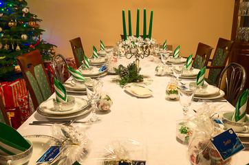 Obraz Wigilijny stół na boże narodzenie - fototapety do salonu