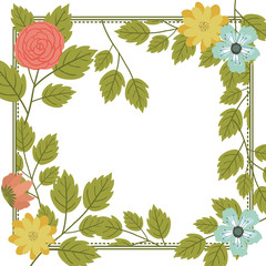 Flowers frame icon. Decoration rustic garden floral nature plant and spring theme. Isolated design. Vector illustration