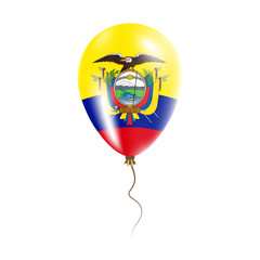 Ecuador balloon with flag. Bright Air Ballon in the Country National Colors. Country Flag Rubber Balloon. Vector Illustration.