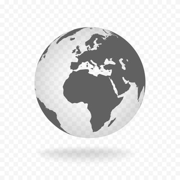 White gray globe glass transparent vector