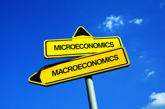 Microeconomics vs Macroeconomics - Traffic sign with two options - local and individual economy ( entrepreneurship ) vs finance of state and country ( GDP, Gross domestic product )