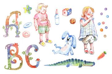 Сhildren, letters, toys, rabbit, crocodile, pencil drawing.