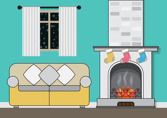 Interior of a living room with fireplace gift greeting card on green background.