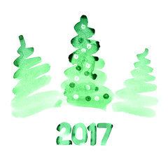 Green watercolor Christmas trees
