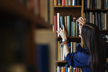 Rear view of woman searching book in library