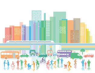 große Stadt mit Personen und Straßenverkehr