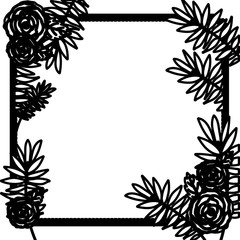 Flowers and leaves frame icon. Decoration rustic garden floral nature plant and spring theme. Isolated and silhouette design. Vector illustration