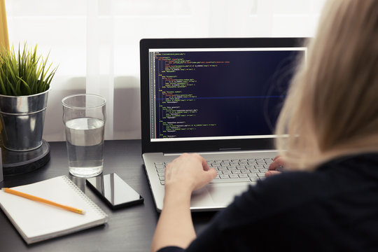 woman freelance programmer working from home