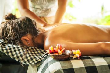 Woman at spa treatment massage