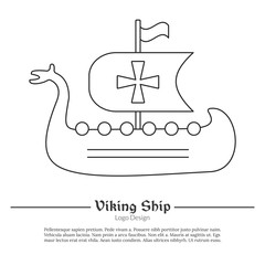 Medieval Viking ship, boat. Single logo in modern thin line style isolated on white background. Outline medieval theme symbol. Simple mono linear pictogram. Stroke vector logotype template.